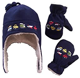 N\'Ice Caps Boys Sherpa Lined Micro Fleece Embroidered Hat and Mitten Set (4-7yrs, navy)