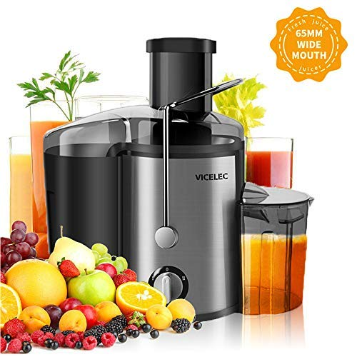 Juicer Extractor, VICELEC Extractor 600W Centrifugal Juicers Electric Anti-Drip Dual Speed BPA-Free Juicer Machine with Juice Jug and Pulp Container for Fruit Vegetable