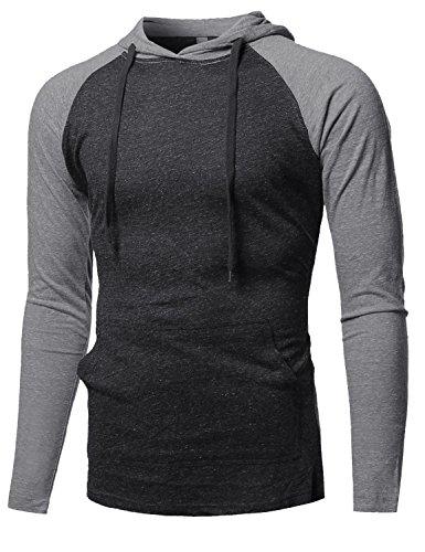 Casual Raglan Long Sleeve Kangaroo Pocket Hooded Top Charcoal Grey Size L ()