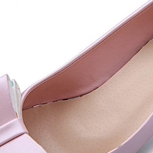 AllhqFashion Mujer Tacón Alto Sólido Sin cordones Material Suave Puntera Redonda Puntera Cerrada De salón Rosa