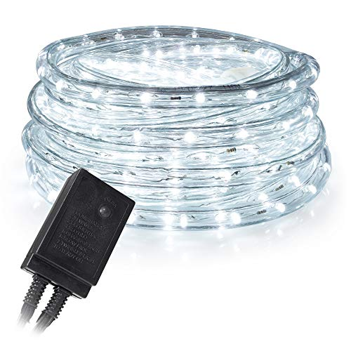 West Ivory 10', 25', 60', 150' ft (10' feet) Cool White LED Rope Lights w/ 8 Mode Controller 2 Wire Accent Holiday Christmas Party Decoration Lighting | UL Certified ()