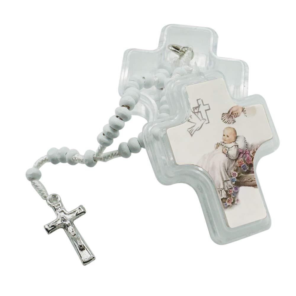 12 Pcs Baptism Wood Rosaries in Glass Jar/Recuerdos de Bautizo Niña Niño
