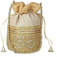 Funkia™ Ethnic Jute Potli Batwa Pouch Bag with Metal Beadwork Gift for Women