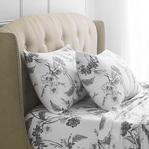 Pinzon Signature 190-Gram 100% Cotton Heavyweight Velvet Flannel Bed Sheet Set, King, Floral Graphite