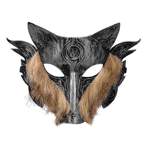 Party Masks - Plastic Werewolf Game Mask Scary Hairy Wolf Man Face Cover Halloween Decor Holiday Festive Home - Stick Glasses Masquerade Wear Couples Gold Kids Capes Superhero Dinosaur Adul -