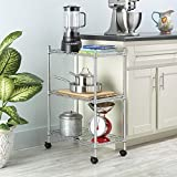 Leoneva 3-Tire Adjustable Heavy Duty Metal Wire Storage Shelving Unit with Rolling Wheels, 11.7''(D) x 23.4''(W) x 33.5''(H), Silver