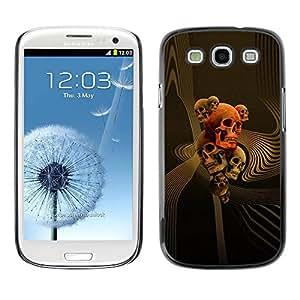 rígido protector delgado Shell Prima Delgada Casa Carcasa Funda Case Bandera Cover Armor para Samsung Galaxy S3 I9300 /Skull Gold Red Death Abstract Vortex/ STRONG