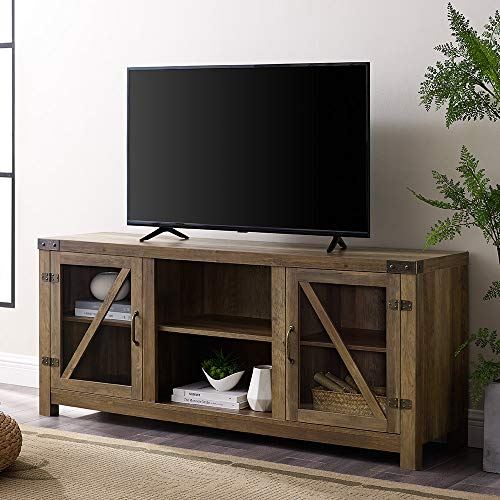 Wood And Glass Tv Stands - WE Furniture AZ58BDGDRO TV Stand, 58