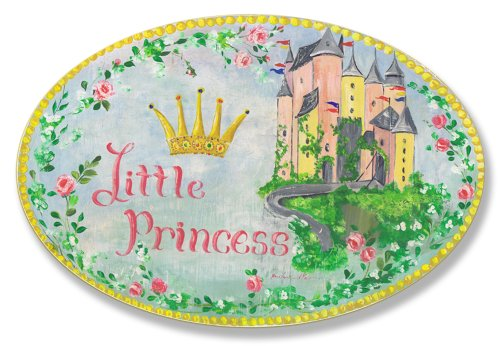 Little Princess Wall Plaque - The Kids Room by Stupell Little Princess Floral Border With Castle Oval Wall Plaque, 10 x 0.5 x 15, Proudly Made in USA