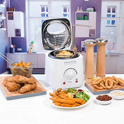 PROGRESS EK2969P Compact Deep Fat Fryer With Removable Cooking Basket, 1 L, 950