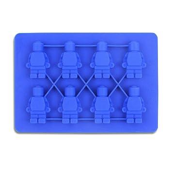 Molde de silicona para tartas, forma de robot de Lego, moldes de chocolate, moldes de galletas de gelatina, moldes de galletas creativos para hornear: ...