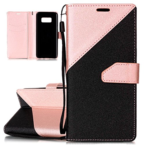 for Samsung Galaxy S8 Case [Shock-Absorption]- ISAKEN Frosted Splicing PU Leather Case Magnetic Folder Card Holders Pouch, Bookstyle Wallet Case Stand Function Cover, Black Rose Gold