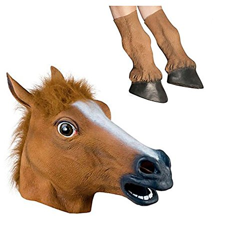 Miyaya Horse Head Mask with 1 Pair Horse Hooves Gloves]()