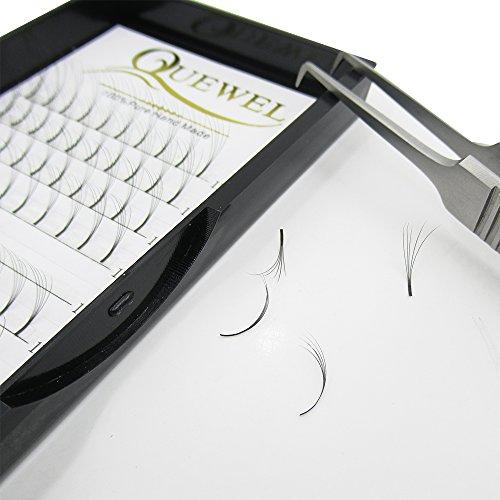 Quewel Lash Russian Volume Eyelash Extensions 5D C Curl 14mm Long Thickness 0.07mm Premade Fans Volume Eyelashes Soft (5D-0.07-C, 14mm)