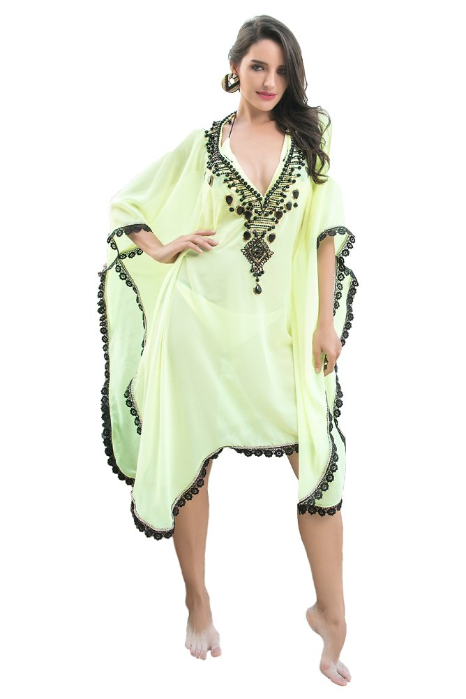 Kolkozy Fashion Women's Beaded Bikini Cover Ups Lammon Yellow by Kolkozy Fashion