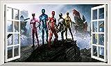 Power Rangers V801 Magic Window Wall Sticker Self Adhesive Poster Wall Art Size 1000mm wide x 600mm deep (large)