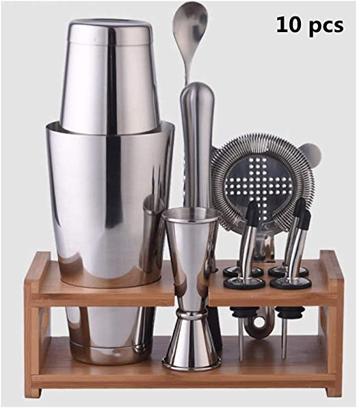 Cocktail Shaker Mixer With Strainer Steel Bar Tool Drink Set 800ml 3 Pieces