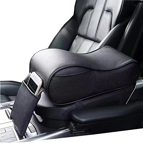 EDJIAN Premium Car PU Leather Center Console Armrest Cushion Pillow Memory Foam with Side Pocket for phone (Black)