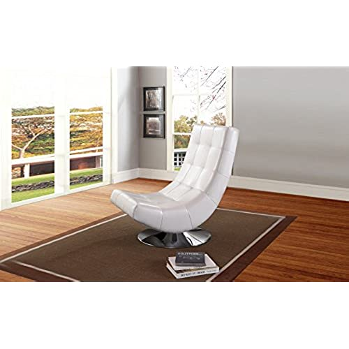 White Leather Swivel Chairs for Living Room: Amazon.com