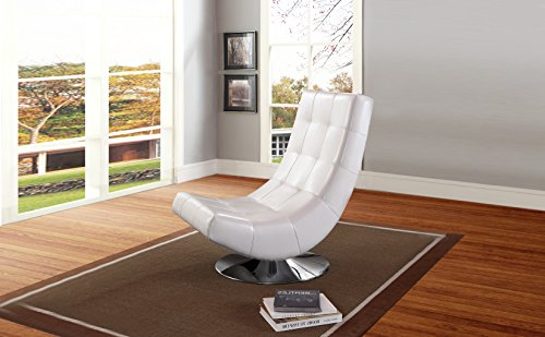 Baxton Studio Wholesale Interiors Elsa Faux Leather Upholstered Swivel Chair with Metal Base, Large, White (Leather Small For Sale Armchairs)