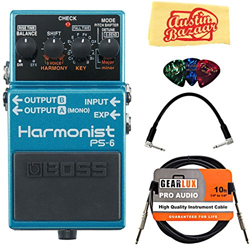 Harmonist Guitar - Boss PS-6 Harmonist Bundle with Instrument Cable, Patch Cable, Picks, and Austin Bazaar Polishing Cloth