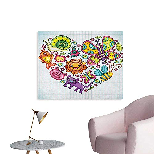 Anzhutwelve Doodle Photo Wall Paper Flora and Fauna Themed Heart Animals Birds and Plants Bumblebee Ladybug Leafs Cat Funny Poster Multicolor W32 xL24