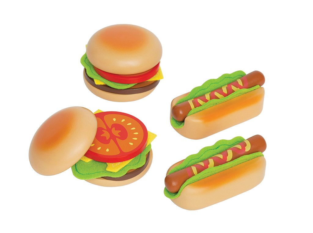 Hape Hamburger and Hot Dogs Wooden Play Kitchen Food Set with Accessories