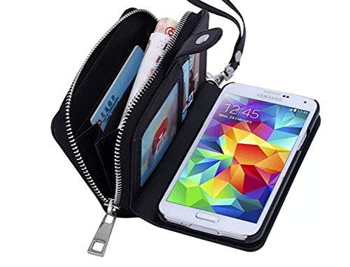(Dreams Mall 2 in 1 PU Leather Wallet Purse Case Protection for Samsung Galaxy S5 with Stand Flip Cover and Strap,)