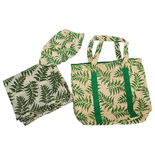 Matching With Womens Sarong amp; Green Bag Print Beige Hat Ladies Leaf Beach YY6pS