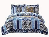 Fancy Collection 3pc Bedspread Bed Cover Floral Navy Blue Black New #74 Full/queen Over Size 100″x106″