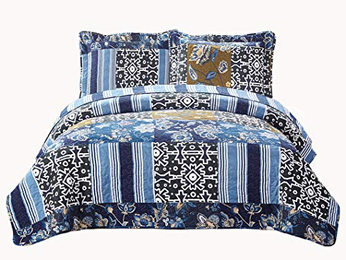 Fancy Collection 3pc Bedspread Bed Cover Floral Navy Blue Black New #74 King/california King Oversize 118x106