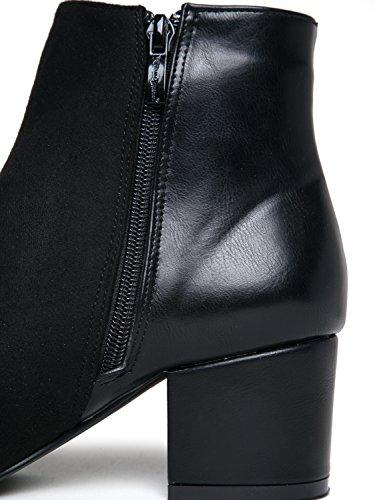 J. Adams Confortable Bottine Basse - Bout Pointu Bout Fermé Chunky Bootie - Zip Décontracté Chaussures Talon Bloc Tous Les Jours - Zuma Par Suede Noir Pu