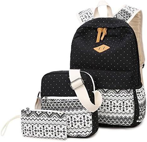 Hippolo - Juego de 3 mochilas de lona casual + bolso de hombro + bolso/ estuche para lápices, mochila para niños y adolescentes, para hombre y mujer negro negro large: Amazon.es: Productos para mascotas