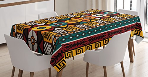 Kente Design - Ambesonne Kente Pattern Tablecloth, Vertical Borders Inspired by Primitive African Cultures Geometrical Design, Dining Room Kitchen Rectangular Table Cover, 52 W X 70 L Inches, Burgundy Yellow