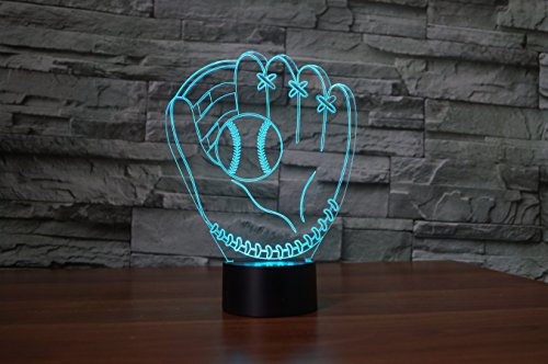 3D Optical Illusion LED Desk Lamp, 7 Color Changing with USB Cable Touch Button Night Light - Best Gift for Kids/Friends/Birthdays/Home Bedroom Decor Lighting (Baseball ()