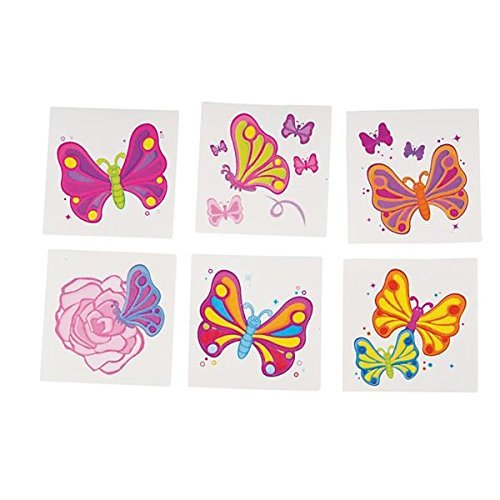 Butterfly Tattoos - 144 Piece 2 Inch Colorful Temporary Waterproof Transfer Tattoos, for Kids, Chic, Hippie, Party Favors, Prize - Comprehensive Instructions Included. – by Kidsco ()