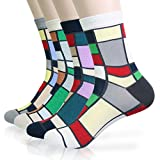KONY 4/8 Pack Men's Combed Cotton Dress Crew Socks - Classic Colorful Stripe Patterned Business Socks