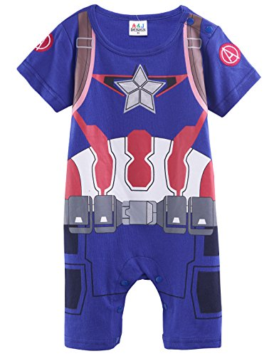 [So Sydney Superhero Onesie Romper Costume for Infant, Baby, Toddler, Boy or Girl (80 (6-12 Months), Captain America - Blue &] (Baby Girl Marvel Costumes)