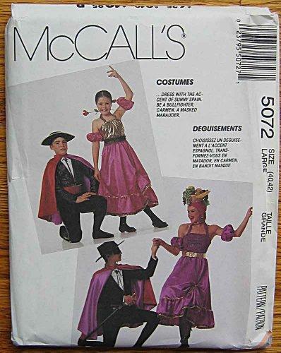 McCall's 5072 Sewing Pattern ~ Adult's Costumes, Spanish Bullfighter, Carmen, Senorita, Dancer, Masked Marauder, Zorro, Adult's Size Large -