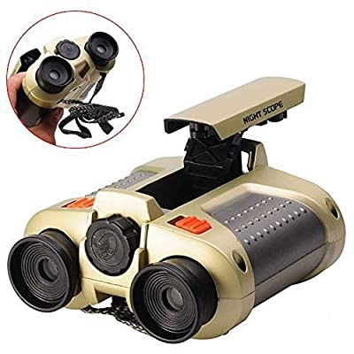 BIAL Night Scope Binoculars 4x30 Telescope with Pop-up Spotlight and Night-beam Vision Fun Cool Toy Gift for Kids Boys Girls