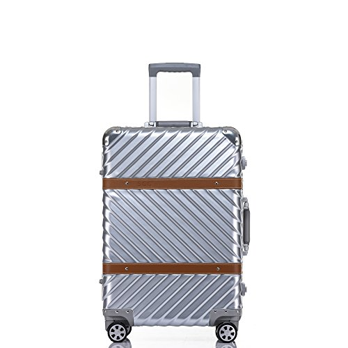 Carry On, Clothink Aluminum Frame Hardside Luggage with Detachable Spinner Wheels 20 Inch Silver