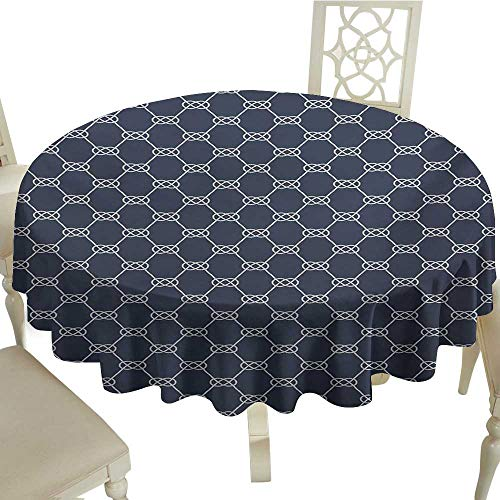 (Grid round table cloth 54 Inch Navy Blue,Navy Inspired Sailor Knot Rope Pattern Illustration Nautical Abstract Design,Dark Blue Cream Great for,family,outdoors,restaurant,Party,Wedding,Coffee Bar,trav)