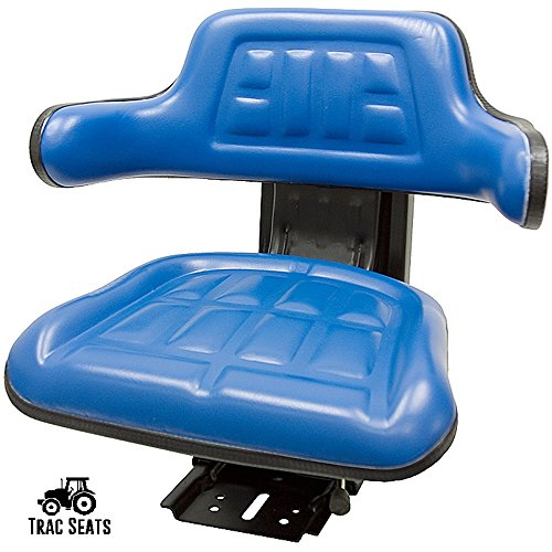 BLUE FORD / NEW HOLLAND 5000, 5600 5610 5910 TRAC SEATS BRAND WAFFLE STYLE UNIVERSAL TRACTOR SUSPENSION SEAT WITH TILT FOR (SAME DAY SHIPPING - GET IT FAST!! VIEW OUR TRANSIT MAP) (5610 Replacement)