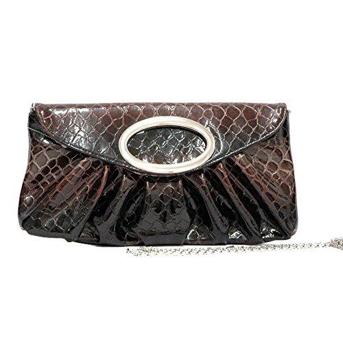 Snakeskin Lined Clutch (Evening Bag Faux Snake Skin Clutch Purse Pleated Fashion Handbag w/Silver Strap)