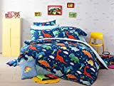 HNNSI 4 Piece Cotton Dinosaur Kids Boys Bedding Sets Queen Size, Dinosaur Kids Duvet Cover with Fitted Bed Sheet, Dinosaur Quilt /Comforter Cover for Children Teens (Queen, Fitted Sheet Set)
