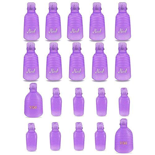 Teenitor Acrylic Nail Polish Remover Clips, 20 Pieces Reusab