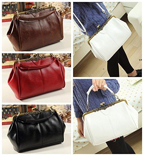 Micom New Small Retro Vintage Kiss Lock Imitation Leather Purse Handbag Totes Bag for Women,girls
