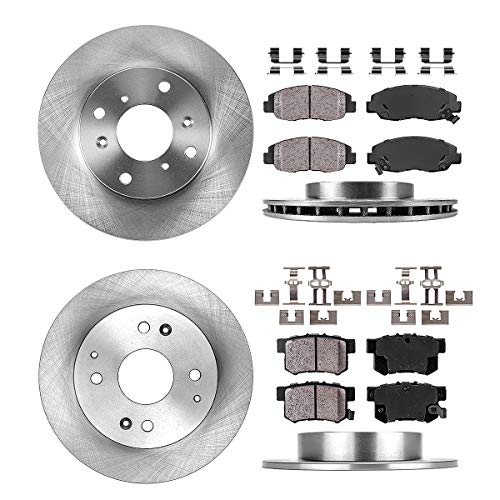 [ 4 Cylinder ] FRONT 260 mm + REAR 259 mm Premium OE 4 Lug [4] Rotors + [8] Quiet Low Dust Ceramic Brake Pads + Clips