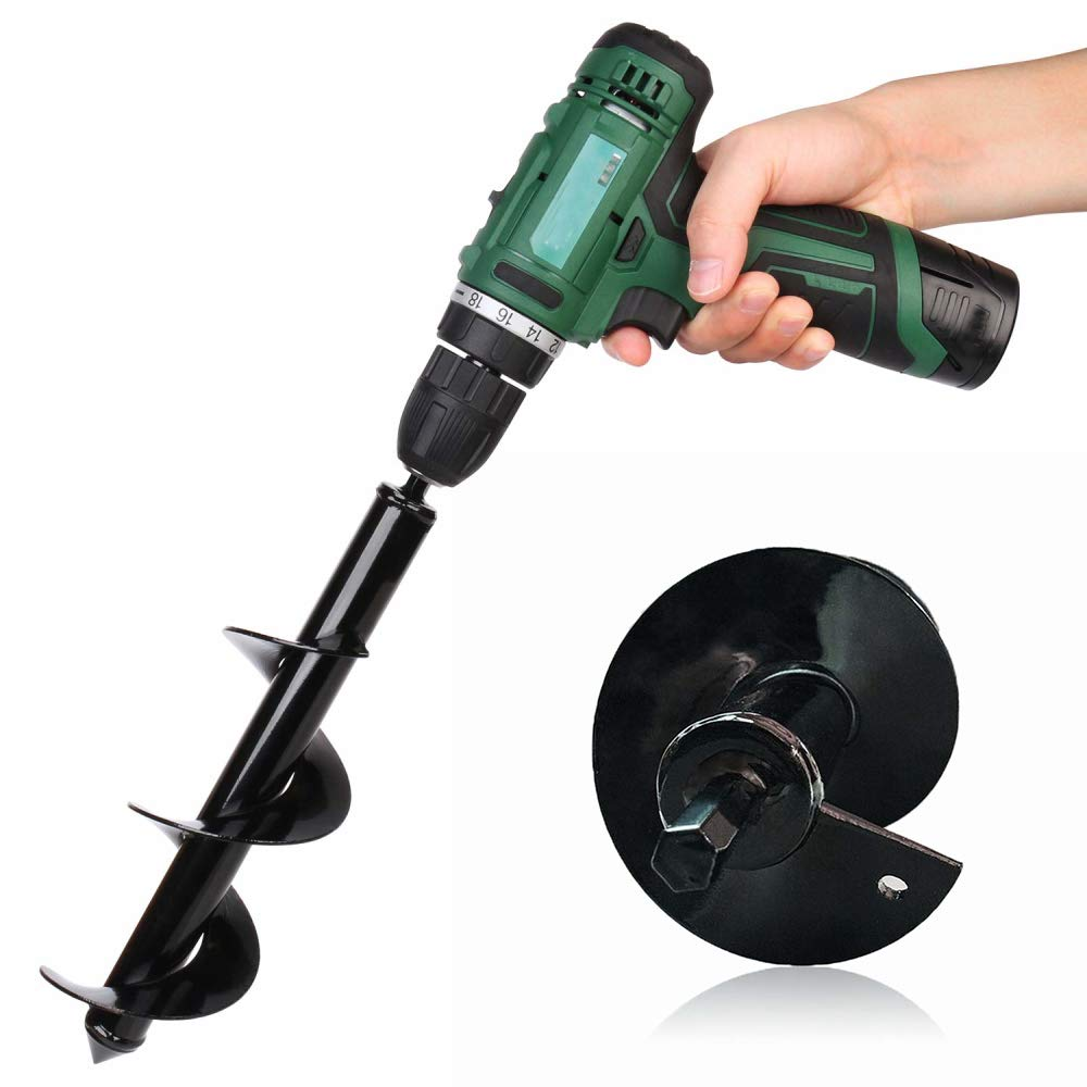 Digging DIY Drill Bit Replacement Electric Cordless Garden Planting Auger Spiral Size 9inch x 1.6inch