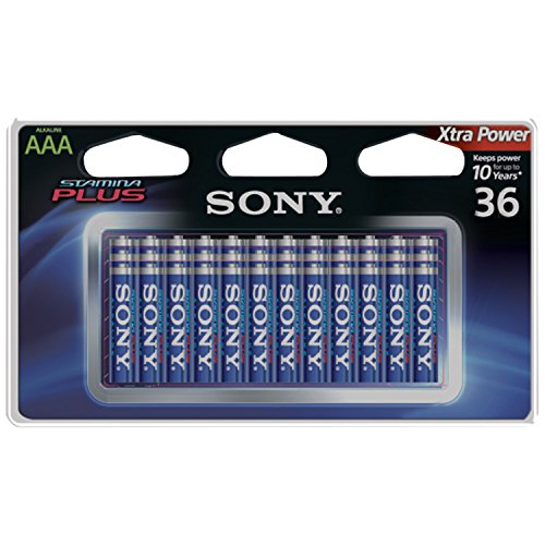 SONY S-AM4B36A Stamina Plus Alkaline Batteries AAA, 36 Pack